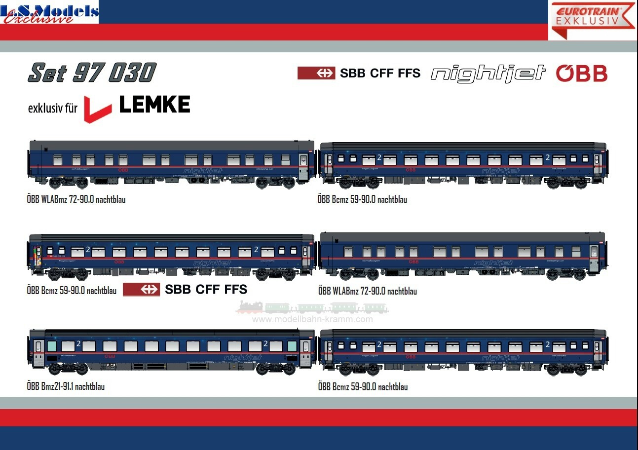 H0 AC Nightjet Personenwagen-Set 6-teilig ÖBB SBB