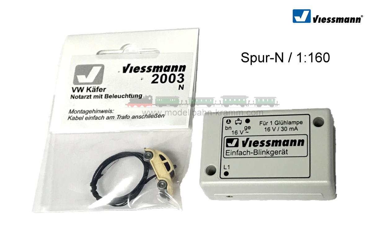 N VW Käfer Notarzt, mit Blaulicht und Einfach-Blinkgerät